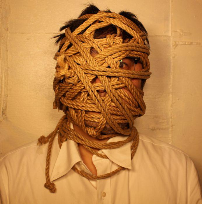 bondage-man's face